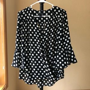 I.N.C. Beautiful L flowing sheer polka dot top EUC